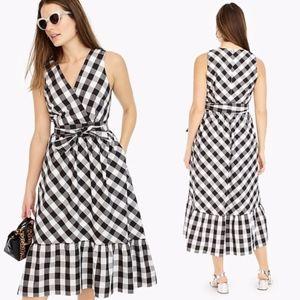 ✨ J. Crew Sleeveless Faux-Wrap Dress in Gingham ✨